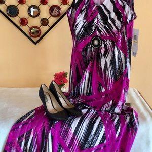 NWT Nina Leonard Jeweled Maxi Dress